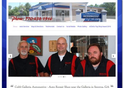 Web Design for Cobb Galleria Automotive - Smyrna, GA